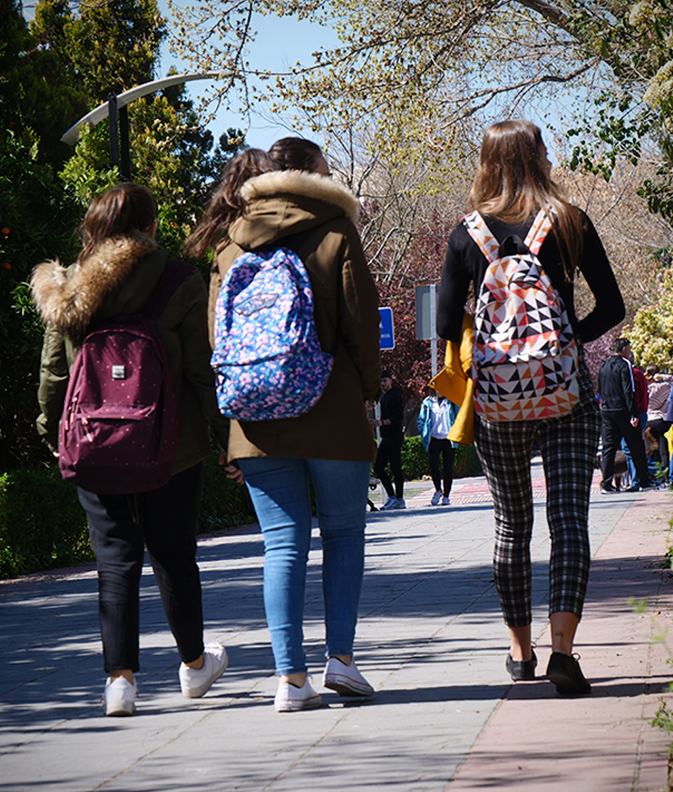 Estudiantes por los paseillos universitarios en el campus de Fuente Nueva